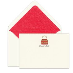Elegant Note Cards with Engraved Handbags