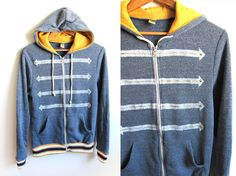 Military Hand STENCILED Slouchy Studded Arrow Fleece Zip Hoodie Jacket Heather Navy and Gold - S M L XL 2XL 3XL. $69.00, via Etsy.