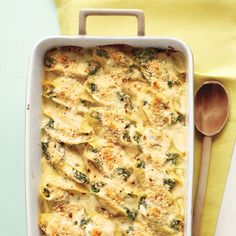 This update to the old-fashioned tuna casserole is just as delicious as you remember: It gets a fresh taste from spinach and a fun shape from shells.