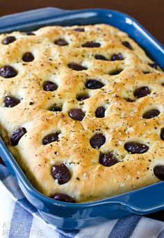 Focaccia Recipe with Roasted Garlic and Olives | ASpicyPerspective.com #bread #focaccia