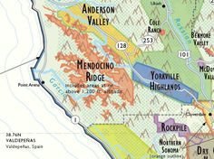 Detail of California Wine Country Map by De Long. It shows all of the AVA regions. Order from Vinodiversity.com