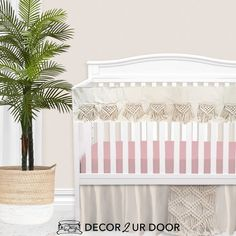 The boho nursery you've been dreaming of. Our Natural and Blush Pink Macrame Baby Bedding set is a Decor 2 Ur Decor EXCLUSIVE. We adore the texture of the macrame featured on the rail cover and crib skirt. We're in boho baby bedding heaven. Girl Crib Bedding Sets, Custom Baby Bedding, Girl Cribs, Nursery Bedding, Vintage Crib, Boho Nursery, Nursery Decor, Thing 1, Baby Girl Blankets