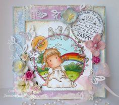 magnolia tilda card | OOAK Magnolia Sweet Tilda handmade birthday card - by Jane Johnson