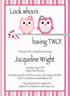 Look whoo's having TWO  Baby Shower Invitation by ChompingAtTheBit, $8.00