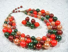 Vintage Jewelry Set, Multi Strand Necklace, Bead Cluster Earrings, Fall Orange Green Brown Peach, 1950's Mad Men Jewelry