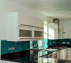 Aqua Green Splashback Crystalline Collection by CreoGlass Design (London, UK). View more kitchen Splashback and non-scratch worktop collections on www.creoglass.co.uk #kitchen