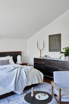 Master Suite - This Modern Masculine S. Reno Has An Eclectic Edge - Photos Cozy Bedroom, Home Decor Bedroom, Living Room Decor, Bedroom Table, Bedroom Ideas, Bedroom Designs, Master Bedroom, Elegant Home Decor, Modern Decor