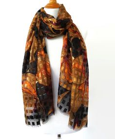 Plaid Brown Silky Scarf Women's Scarves by IN THE BAG Design