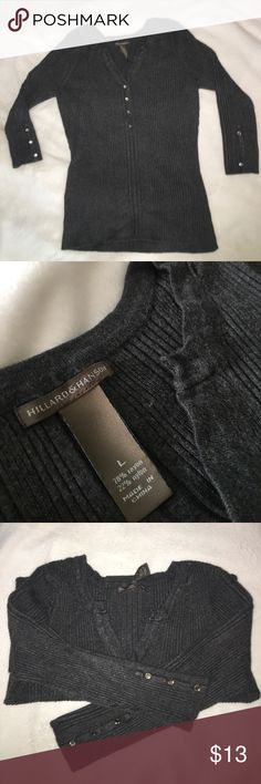 """HILLARD & HANSON Gray Shirt Nice gray top. Good condition. Missing one button on left arm, and several """"diamonds"""" in several other buttons. Hillard & Hanson Tops Button Down Shirts"""