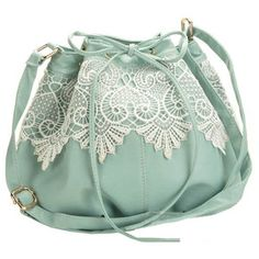 Lace Detailed Light Green Bag