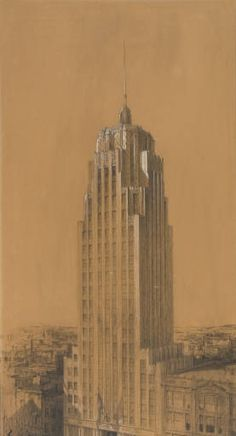 The Lincoln Tower | Fort Wayne, Indiana 1930, Walker & Weeks, 1929 architectural rendering.