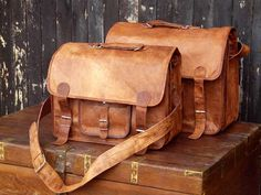 old leather bags