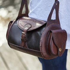 Benjamin barrel bag in plain leather by HOUSEOFANDINA on Etsy