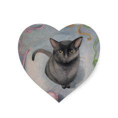 Cat with Yarn Heart Stickers; Abigail Davidson Art; ArtisanAbigail at Zazzle