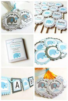 Elephant Cupcake Toppers for Baby Shower in Blue and Chevron daa6be587c9