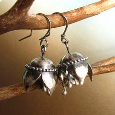 Sterling Silver Musical Bell Flower Earrings  Sterling by Mocahete,