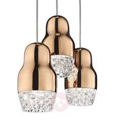 3-punktowa lampa wisząca LED Fedora różowe złoto | Lampy.pl Glass Pendant Light, Glass Pendants, Pendant Lighting, Recessed Ceiling Lights, Venetian Glass, Bulb, Rose Gold, Led Lamp, Clear Glass