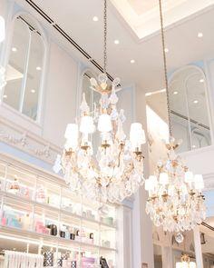 Pretty spaces chandeliers Laduree #beautiful #spaces #interior #design #home #chandelier #pretty #laduree #explore #dc #georgetown #paris