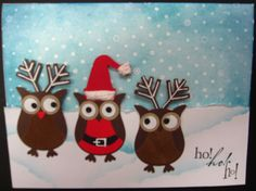 Stampin' Up owl punch. Stamped Christmas Cards, Christmas Paper Crafts, Xmas Cards, Holiday Cards, Owl Punch Cards, Owl Card, Winter Cards, Scrapbook Paper Crafts, Creative Cards