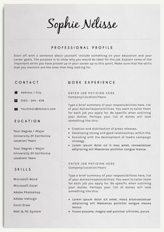 SOPHIE NELISSE Professional Clear Resume Template for Word Instant Download CV Template Elegant Design T...