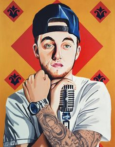 Original Portrait Painting by Ra Paints Vector Magic, Mac Miller Quotes, Mac Miller Tattoos, Ariana Grande Mac, Rap, Sarah Miller, Baseball Pictures, Hypebeast Wallpaper, Hip Hop Art