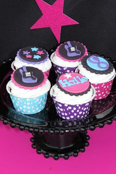rockstar birthday party cupcakes rock star girl cupcake toppers