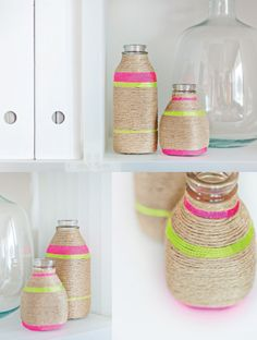 rope-wrapped bottles also on the same blog - cute yarn wrapped wreaths with large monogram letter.