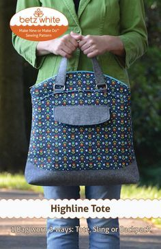 SEWING PATTERN ONLY. Finished products and materials are not included. ___________________________________________________________________________  Highline Tote The Highline Tote is well suited for a day of sightseeing or running errands around town. It's a zippered top tote with a hidden backpack strap enabling it to be carried multiple ways: Tote, Backpack or Sling. The two exterior pockets allow you to stash the handles or straps when not in use. The interior is roomy with both zip and…