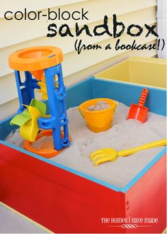 Color Block Sandbox from a Bookcase An old bookcase can make for a great DIY sandbox for your children. This is a good project for new DIY and beginning project doers. Outdoor Play Areas, Outdoor Fun, Outdoor Games, Light Fixture Makeover, Architecture Design, Old Bookcase, Bookshelf Ideas, Book Shelves, Diy Blanket Ladder