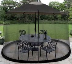 Details About Outdoor Umbrella Table Screen Net Black 9 Ft Garden Patio  Mosquito Insect Bugs