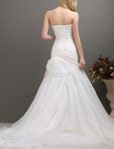 ❀ Pleated Ruched Bandeau Organza Wedding Dresses Sweetheart Sleeveless Floor-Length With Chapel Train | Riccol ❤