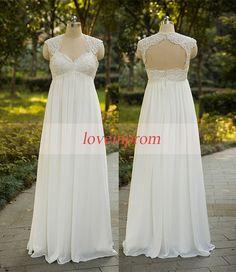 Cap sleeve wedding dresswhite/ivory wedding by loveinprom on Etsy