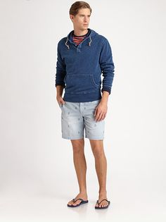 Polo Ralph Lauren Outfit. Composed by Pullover Jersey Hoodie, Striped Cotton Jersey Crewneck, Slim-Fit Embroidered Cotton Chino Shorts and Sandals. Image from SAKS.com