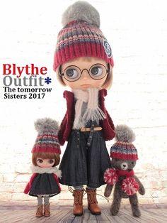 ◆Blythe Outfit◆ネオブライス♪アランニット&ゆるカジ♪8点セットNO81_プチブライスOFは別出品しています。