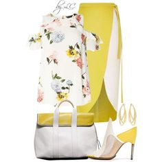 Yellow and white by explorer-14541556185 on Polyvore featuring мода, Dorothy Perkins, Swarovski, River Island and 3.1 Phillip Lim