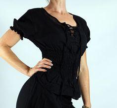 - LACE UP PEASANT BLOUSE - Zootzu Pirate Renaissance Costume Gypsy Top BLACK #zootzu #TopsShirts
