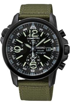 Amazon.com: SEIKO SSC137P1,Men's Solar,Military Style,Fabric Strap,Alarm Chronograph,100m WR,SSC137: Watches