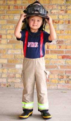 Personalized Firefighter Toddler Child Outfit with Customized Department Name on Shirt  Perfect  Halloween Costume