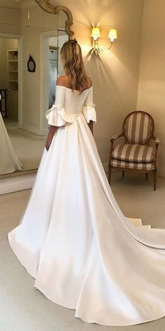 27 Chic Bridal Dresses: Styles & Silhouettes ❤ bridal dresses simple a line off the shoulder with train wanda borges Simple Wedding Gowns, A Line Bridal Gowns, Pretty Wedding Dresses, Wedding Dress With Pockets, Backless Wedding, Bridal Dresses, Wedding Bride, Wedding Ideas, Wedding Silhouette