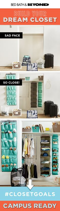 Teeny tiny dorm closet? Keep your wardrobe and shoe game strong with closet solutions that double your storage space. #campusready