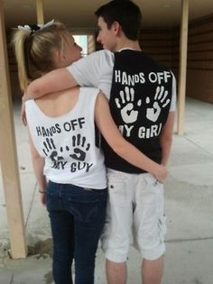 I love when couples have matching shirts like these, but my boyfriend thinks it's dorky. I so want to make these shirts though.