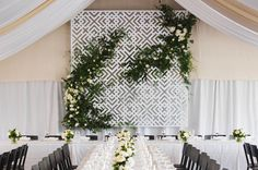 Lauren & Lachie. Carrick Hill, Springfield. Custom design screen We do EPIC. #wedding #eventstyling #emkhostyle #weddingstyling #emkhoacreativecollectiveConcept & styling by www.emkho.com Modern Design, Custom Design, Event Styling, Wedding Styles, Backdrops, Reception, Table Decorations, Floral, Beautiful