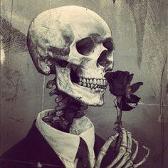 • art Black and White vintage gore black dark flowers skull skeleton rose