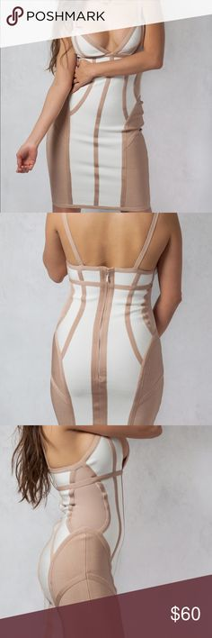 White and nude bodycon dress. White and nude bodycon dress. Seamless zipper in the back. Flattering design all along the dress. Thick stretch material. Non adjustable straps. Perfect fit. Dresses Midi