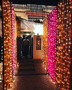 We provide you with the best lighting decorators in Hyderabad of every kind. Believe in us and we assure you that your light decoration for wedding will be lovelier with our custom-made lights décor and design. Desi Wedding Decor, Wedding Hall Decorations, Marriage Decoration, Wedding Entrance, Engagement Decorations, Wedding Mandap, Diwali Decorations, Light Decorations, Dholki Ideas
