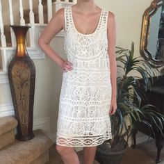 Lucky Brand lace dress This Lucky is gorgeous! It features a slip with a lace overlay, 100% cotton and perfect for spring and summer Lucky Brand Dresses