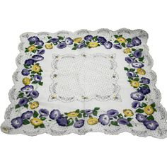 Purple Yellow Morning Glory Print Floral Handkerchief Made in Philippines Scalloped Hem