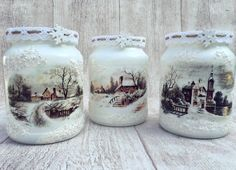 Wine Bottle Crafts, Mason Jar Crafts, Bottle Art, Mason Jars, Christmas Decoupage, Christmas Jars, Decoupage Jars, Decoupage Ideas, Shabby