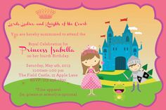 Princess & Knight Party Invite customize ethnicity and hair color of princess blonde brunette red hair Spanish Asian Black Fourth Birthday, 6th Birthday Parties, Birthday Ideas, Princess Birthday, Girl Birthday, Happy Birthday, Knight Party, Prince Party, Train Party