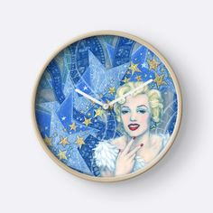 """""""Marylin Monroe, Old Hollywood, fine art, portrait, blue shades"""" Clocks by clipsocallipso 